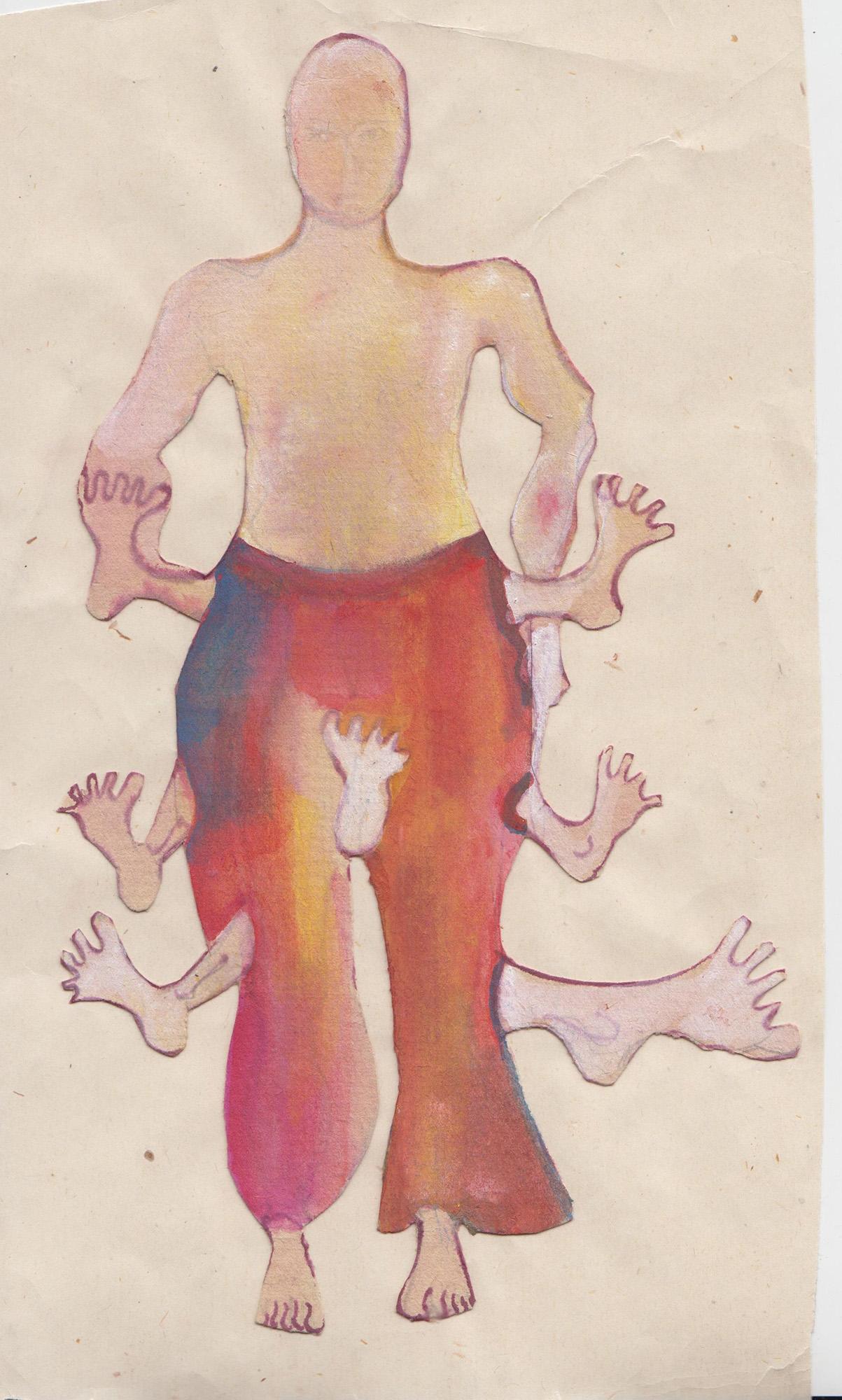 Alexandra Holownia -drawing on paper-leg costume, 21x29,5cm