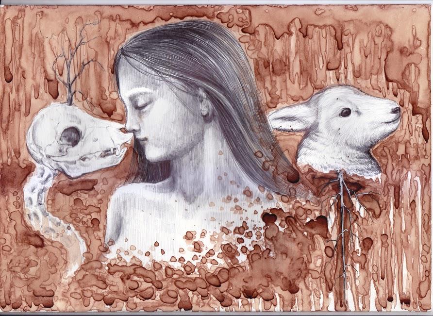 03. Luna Dian Setya_mencium domba (Kiss the lamb)_ bolpoin dan darah diatas kertas_20x30cm_2017